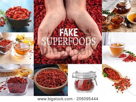 Collage with goji berries. Text FAKE SUPERFOODS on background