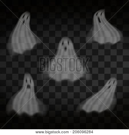 Halloween. Ghosts on transparent background. Flying scary transparent ghost characters. Vector