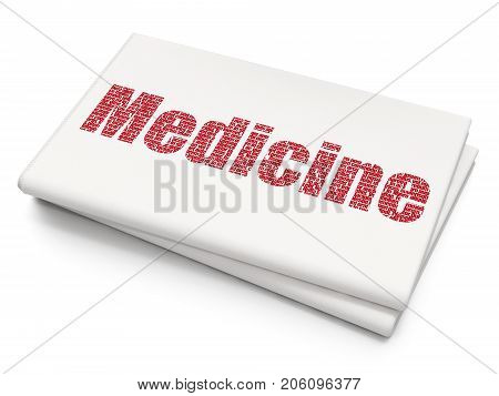 Healthcare concept: Pixelated red text Medicine on Blank Newspaper background, 3D rendering
