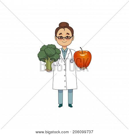vector flat cartoon female doctor nurce in white medical clothing , glasses holding huge big apple and broccoli .Adult character. Isolated illustration on a white background.