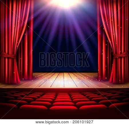 A theater stage with a red curtain and a spotlight. Festival night show poster.