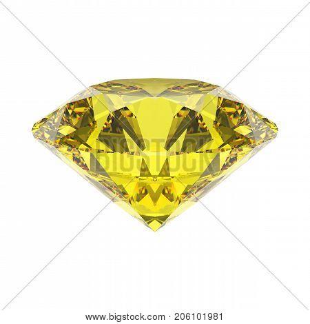 3D illustration isolated yellow emerald round diamond topaz gemstone on a white background