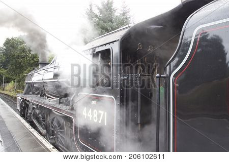 The Jacobite Steam Train ready to depart Fort William