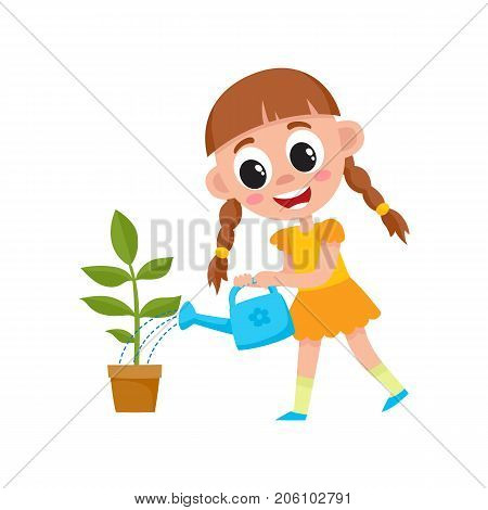 vector flat cartoon cute girl kid watering green plant in ceramic pot by watering can. Isolated illustration on a white background. daily routine concept.