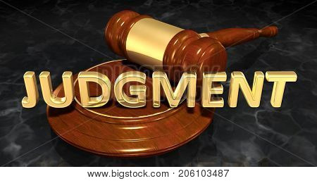 Judgment Law Concept 3D Illustration