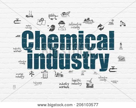 Manufacuring concept: Painted blue text Chemical Industry on White Brick wall background with  Hand Drawn Industry Icons