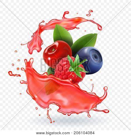 Forest Mixed berries juice Splash. 3d realistic vector.