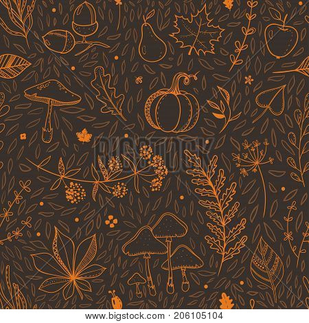 Beautiful autumn pattern for Thanksgiving and other fall holidays. Vector seamless brown and orange pattern.