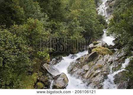 Stream Waterfalls From Kaunertaler Glacier Lake In Kaunergrat Nature Park
