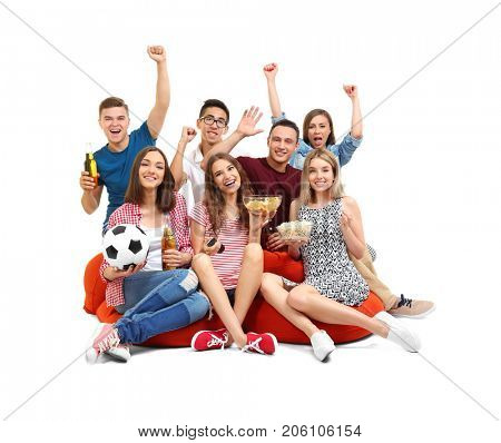 Friends watching TV on bean bag cushion, isolated on white