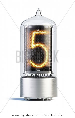 Nixie tube indicator isolated on white - set of decimal digits. Number 5. 3d rendering