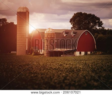 Typical midwest farm in the USA