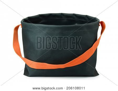 Portable camping foldable bucket isolated on white