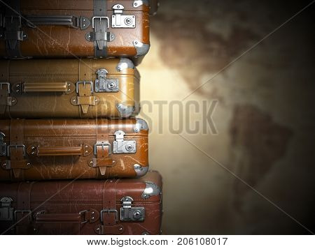 Vintage suitcases on the map of America background.Turism travel concept. 3d illustration