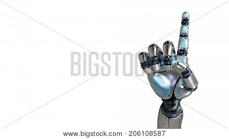 Animated robot hand counting 1 finger. Right hand. Alpha channel.. 3d rendering