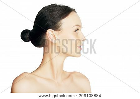 Side Portrait of Girl Isolated on White