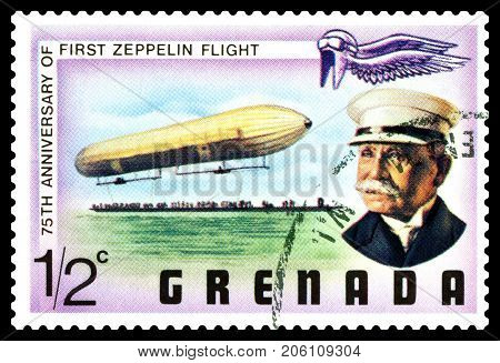 STAVROPOL RUSSIA - September 27 2017: a stamp printed in Grenada shows First Zeppelin Flight series cirka 1975