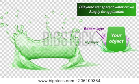 Transparent water crown consist of two layers: top and bottom. Splash of water in green colors isolated on transparent background. Transparency only in vector file