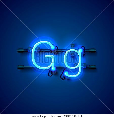 Neon font letter g, art design singboard. Vector illustration