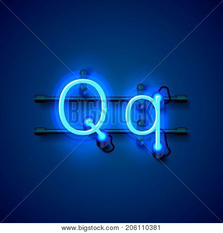 Neon font letter q, art design singboard. Vector illustration