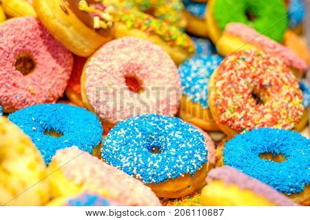 Various decorated doughnuts. Blue and pink donuts. Sweet icing sugar food. Dessert colorful snack. Glazed sprinkles. Doughnuts with frosting. Shallow depth of field.