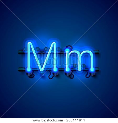 Neon font letter m, art design singboard. Vector illustration