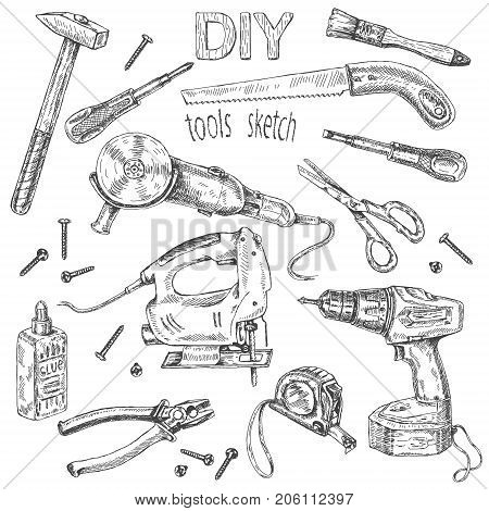 Hand drawn set of instruments. Monochrome fretsaw turn-screw angle grinder isolated on white. Tool kit DIY theme. Vector sketch.