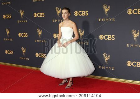 LOS ANGELES - SEP 17:  Millie Bobby Brown at the 69th Primetime Emmy Awards - Arrivals at the Microsoft Theater on September 17, 2017 in Los Angeles, CA