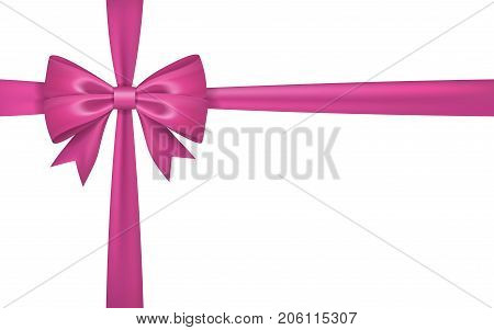 Gift bow ribbon silk. Pink bow tie isolated white background. 3D gift bow tie for Christmas present holiday decoration birthday celebration. Decorative satin ribbon element Vector illustration