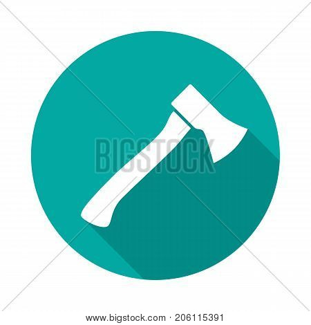 Axe circle icon with long shadow. Flat design style. Axe simple silhouette. Modern round icon in stylish colors. Web site page and mobile app design vector element.