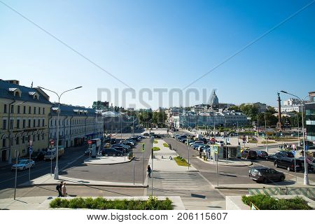 Moscow, Russia - August 31.2017. View of the Pipe area and Tsvetnoy Boulevard