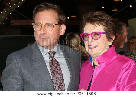 LOS ANGELES - SEP 16:  Steve Carell, BIllie Jean King at the