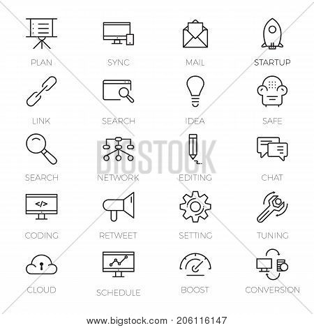 Web development icons set. Outline set of 20 Web development vector icons for web isolated on white background