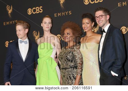 LOS ANGELES - SEP 17:  Gavin Stenhouse, Mackenzie Davis, Denise Burse, Gugu Mbatha-Raw, Guest at the Emmy Awards - Press Room at the JW Marriott Gold Ballroom on September 17, 2017 in Los Angeles, CA