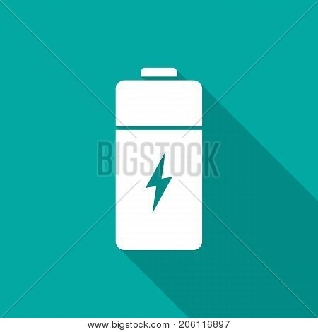 Battery icon with long shadow. Flat design style. Battery simple silhouette. Modern minimalist icon in stylish colors. Web site page and mobile app design vector element.