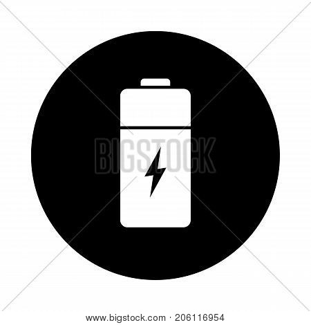 Battery circle icon. Black round minimalist icon isolated on white background. Battery simple silhouette. Web site page and mobile app design vector element.