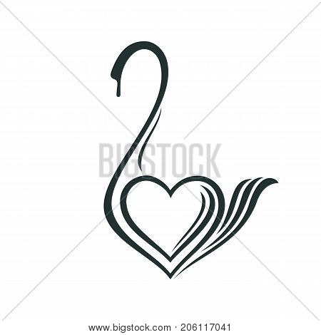 Linear drawing of a swan for a company sign. Stylized image of a swan in the form of a heart