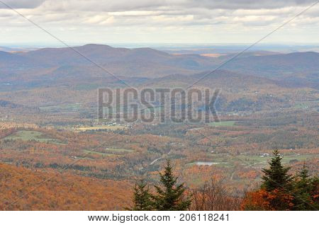 Aerial of Vermont Fall Foliage, Mount Mansfield, Vermont, USA.
