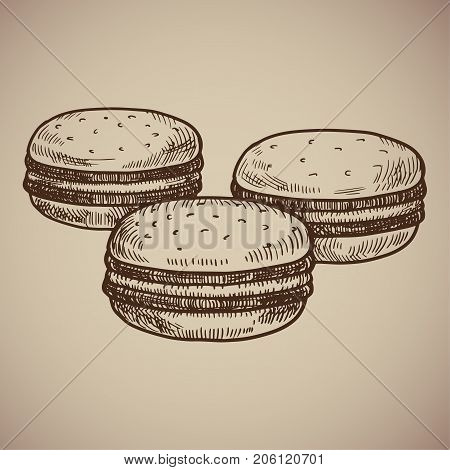 Engraved macaroons. Traditional French cookies. Engraving menu for the restaurant. Vector illustration. EPS 10.