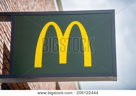 ROTTERDAM, THE NETHERLANDS - September 6, 2017: McDonald's restauraunt logo. McDonald's is the world's largest chain of hamburger fast food restaurants, serving around 69 million customers daily.