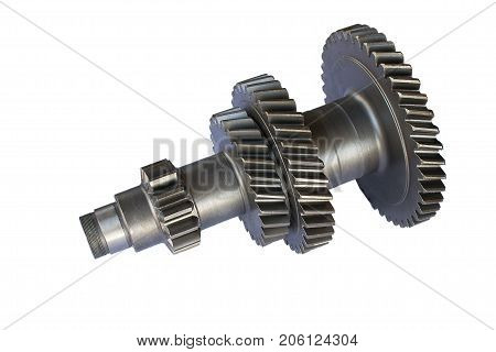 gear unit intermediate shaft under the clamp nut ring on an isolated background