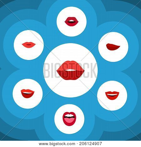 Flat Icon Mouth Set Of Tongue, Teeth, Kiss And Other Vector Objects