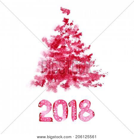 Happy New Year 2018 - Red watercolor Christmas tree