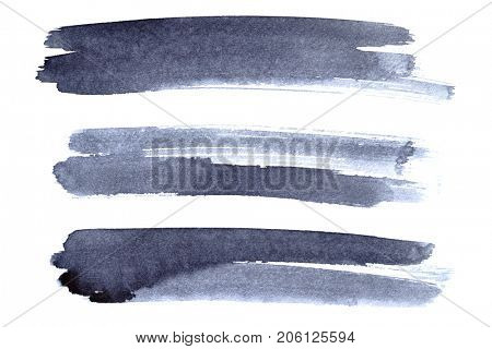 Set of grey ink brush strokes isolated on the white background