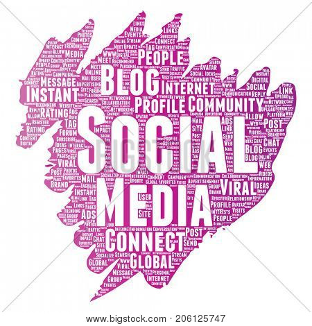 Conceptual social media networking or communication web marketing technology brush or paint word cloud isolated on background. A tagcloud for global community worldwide concept or advertising