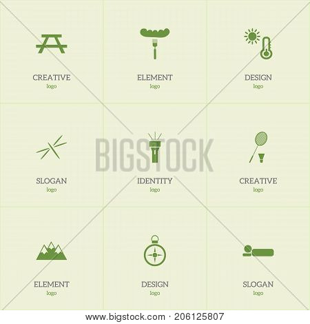 Set Of 9 Editable Trip Icons. Includes Symbols Such As Fork, Bedroll, Desk And More