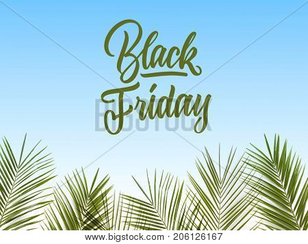 caligraphic text black Friday on a blue background