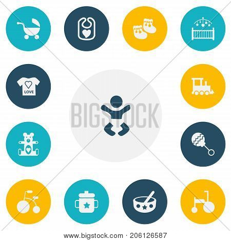 Set Of 13 Editable Infant Icons. Includes Symbols Such As Nursery, Stroller, Newborn Kid And More
