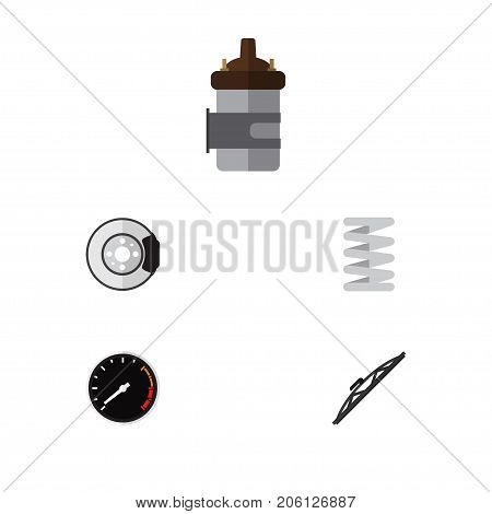 Flat Icon Auto Set Of Windshield, Crankshaft, Absorber And Other Vector Objects