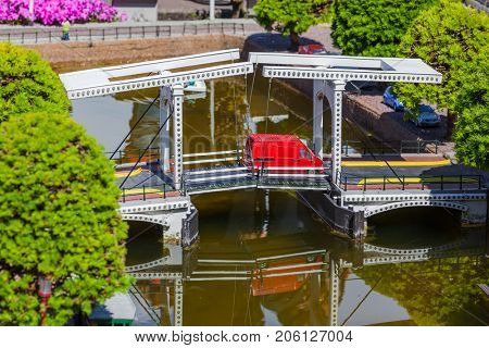 The Hague, Netherlands - April 26, 2017: Madurodam miniature park in The Hague.